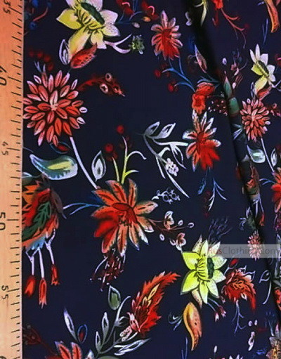 Viscose rayon by the yard ''Bright Flowers On A Dark Blue Field''}
