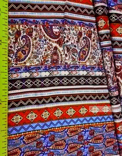Tissu Viscose Imprimé au metre ''Red And Blue Paisley With Ornaments''}