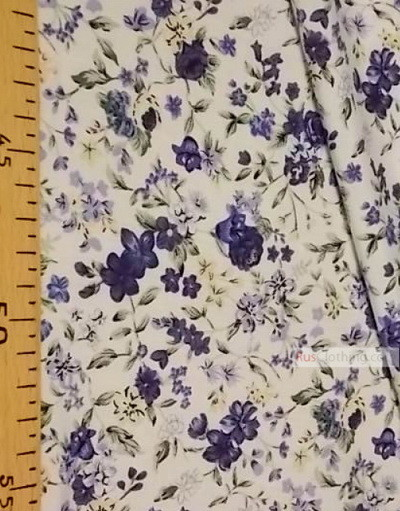 Viscose Fabric by the yard ''Blue Flowers On A White Field''}