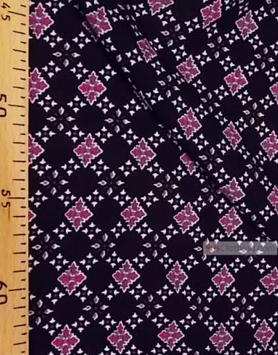 Tissu Viscose Imprimé au metre ''Pink Diamond On Black''}
