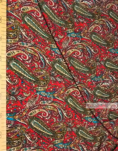 Viscose rayon by the yard ''Mustard Paisley On A Crimson''}