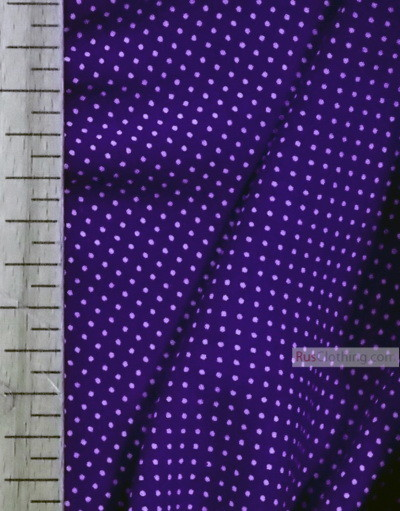 Viscose rayon by the yard ''Little White Polka Dots On Blue''}