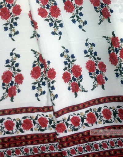 Viscose Fabric by the yard ''Scarlet Asters On White, With A Border''}