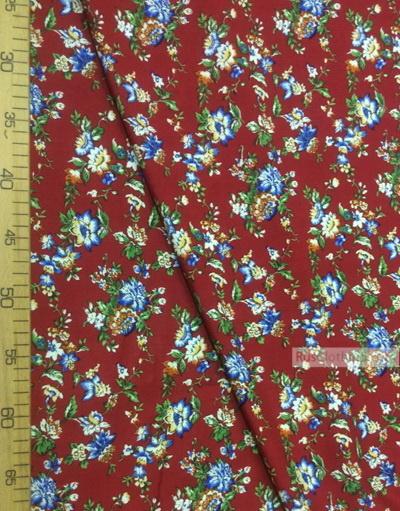 Tissu Viscose Imprimé au metre ''Blue Flowers On Dark Red''}