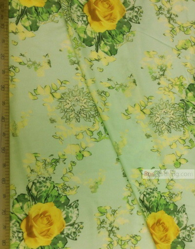 Viscose rayon by the yard ''Yellow Roses On Mint Soft''}