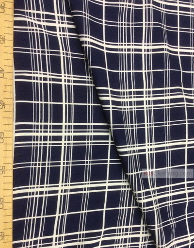 Viscose rayon by the yard ''White Plaid On Blue''}