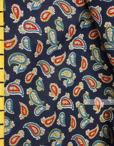 Viscose Fabric by the yard ''Red, Turquoise Paisley On Dark Blue''}