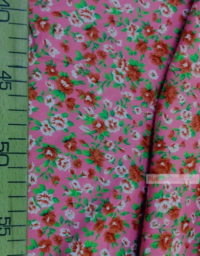 Viscose Fabric by the yard ''White And Pink Roses On Pink''}