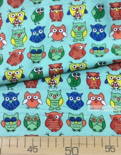 Viscose rayon by the yard ''Coloured Owls On Mint''}