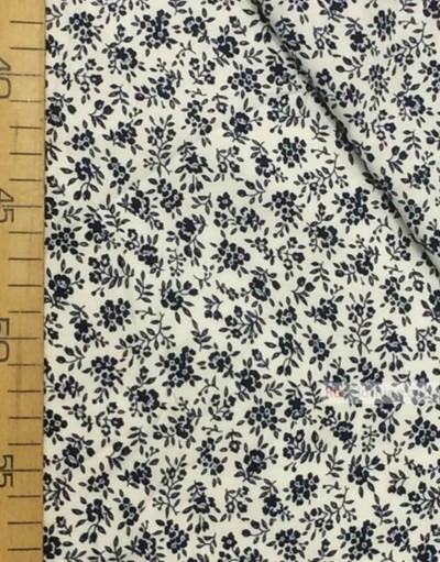 Viscose rayon by the yard ''Blue Flowers On White''}