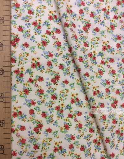 Viscose Fabric by the yard ''Red Flowers On Cream''}