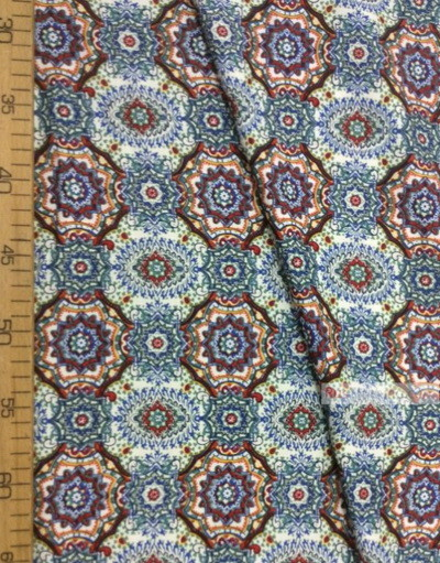 Viscose Fabric by the yard ''Red And Blue Patterns On White''}