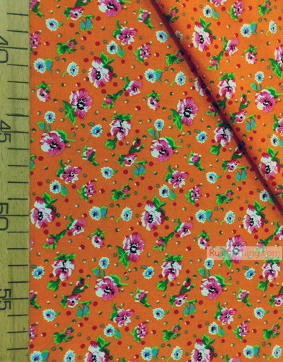 Viscose Fabric by the yard ''Pink Flowers On Bright Orange''}