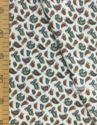 Viscose rayon by the yard ''Red, Turquoise Paisley On White''}