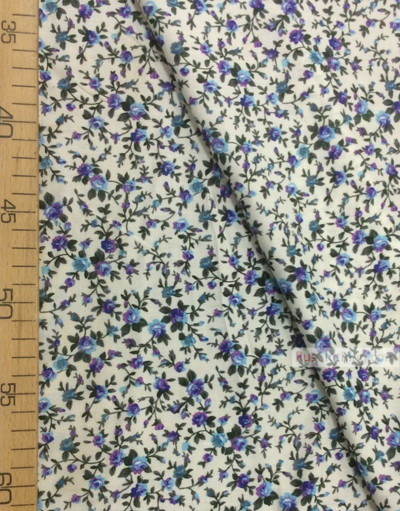 Viscose Fabric by the yard ''Blue, Purple Roses On White''}