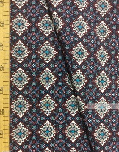 Tissu Viscose au metre ''Turquoise-Gray Patterns On Cherry''}