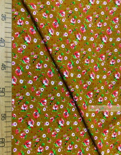 Viscose Fabric by the yard ''Pink And White Flowers On Mustard''}