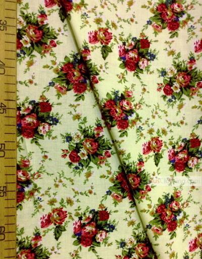 Tissu Viscose au metre ''Bouquet Of Maroon Roses On A Lemon Field''}