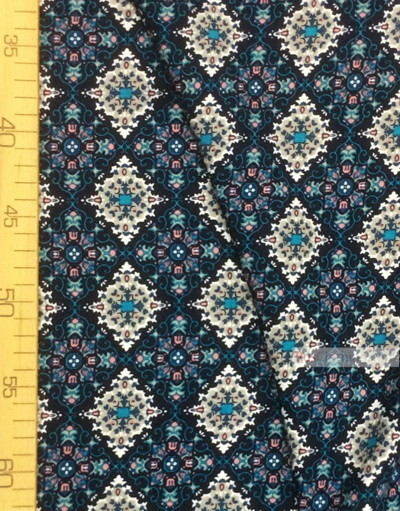 Viscose rayon by the yard ''Turquoise-And-Gray Patterns On The Dark Blue''}