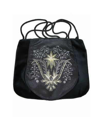 Black Evening Bag ''Orchid''}