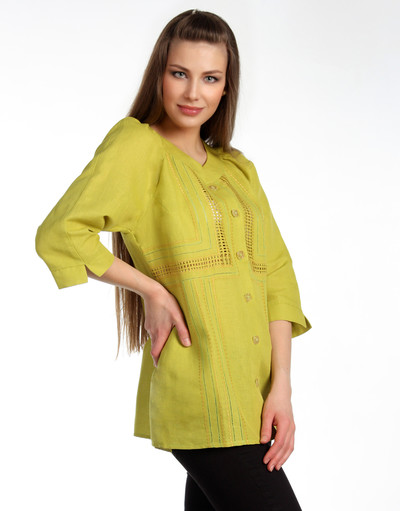 Linen blouse with embroidery ''Lifestyle''