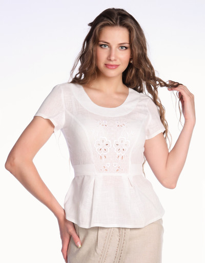 Linen blouse with Richelieu embroidery ''Anna''