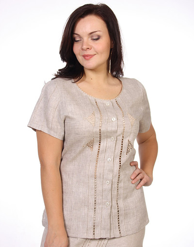 Linen blouse with embroidery ''Ksanka''