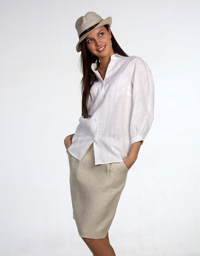 Linen blouse with embroidery ''Charmer''