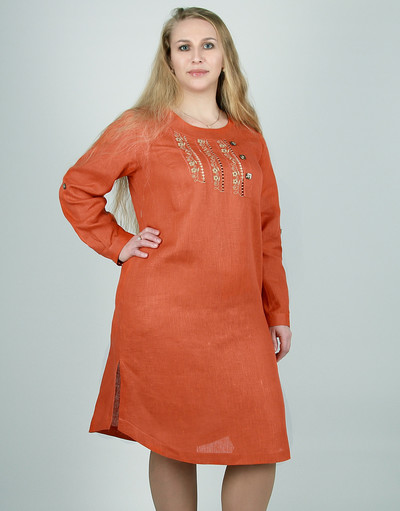Casual linen dress with embroidery ''Nadin''