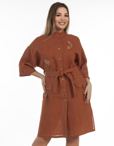Casual linen dress with embroidery ''Bell''
