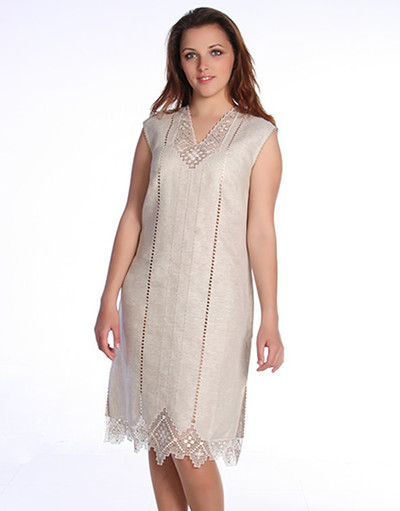 Casual linen dress with embroidery ''Liona''