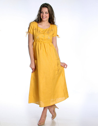 Casual linen dress with embroidery ''Sunny''