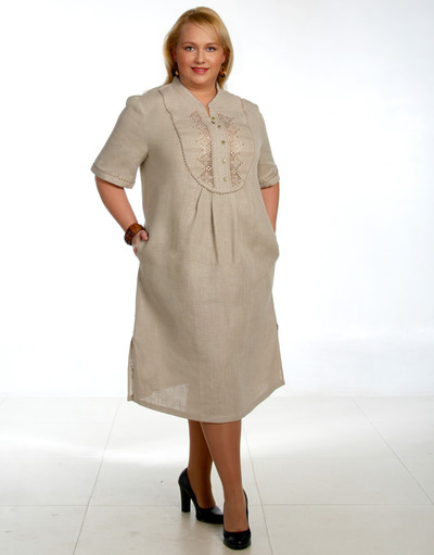 Casual linen dress with embroidery ''Daylight''