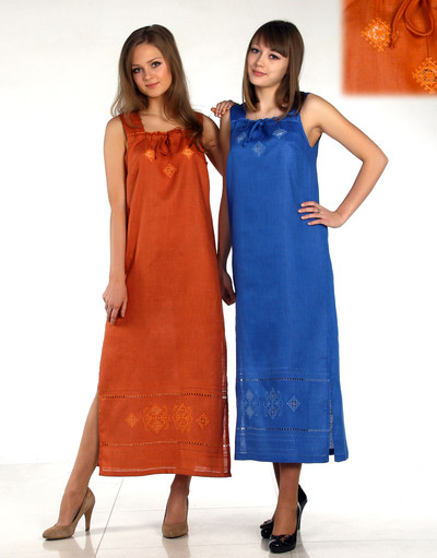 Linen sarafan with embroidery ''Slavic Ornaments''