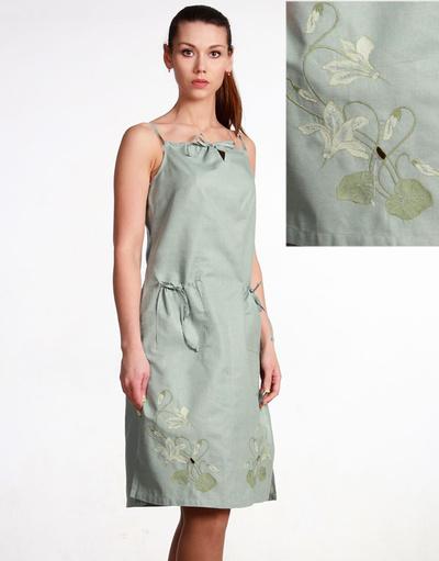 Linen sarafan ''White Flowers''
