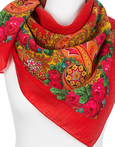 Wool shawl ''Southern bouquet''