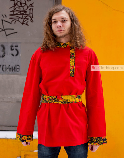 Traditional Russian shirt in red