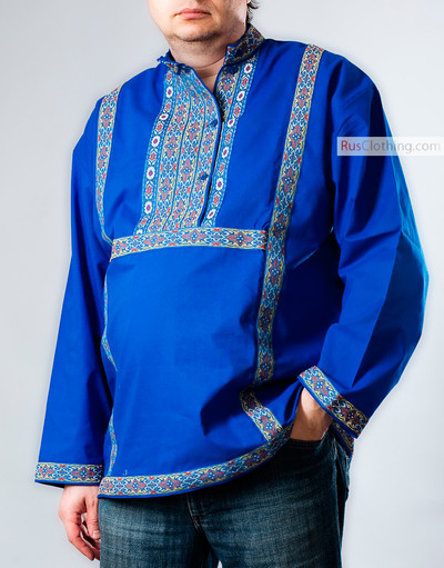 Traditional Russian shirt (blue)