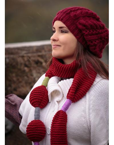 Hand knit burgundy beret
