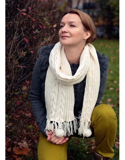 Pomponette hand knit scarf