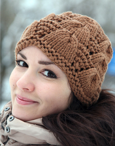 Bronze hand knit hat