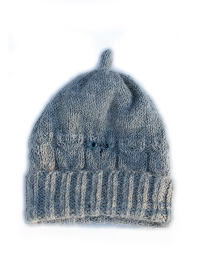 Owl hand knit hat