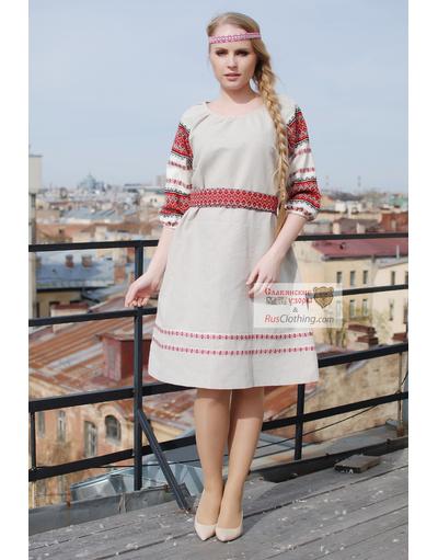 Russian linen midi dress