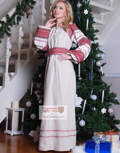 Russian linen dress