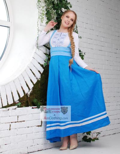 Linen blue dress