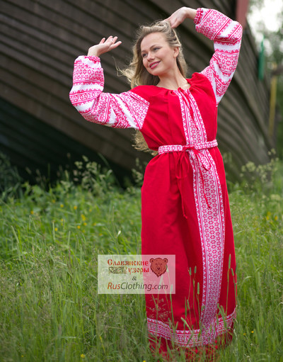 red Russian dress