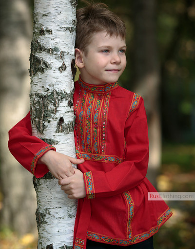 russian red cotton shirt