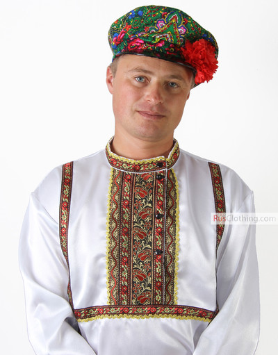 white traditional russian silk shirt