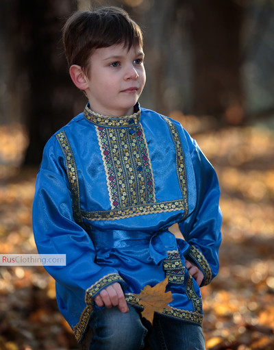 blue traditional russian silk shirt