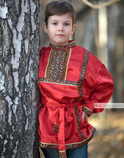 Silk Russian shirt for boy